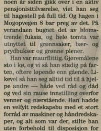 Arne Vindfallet Minneord